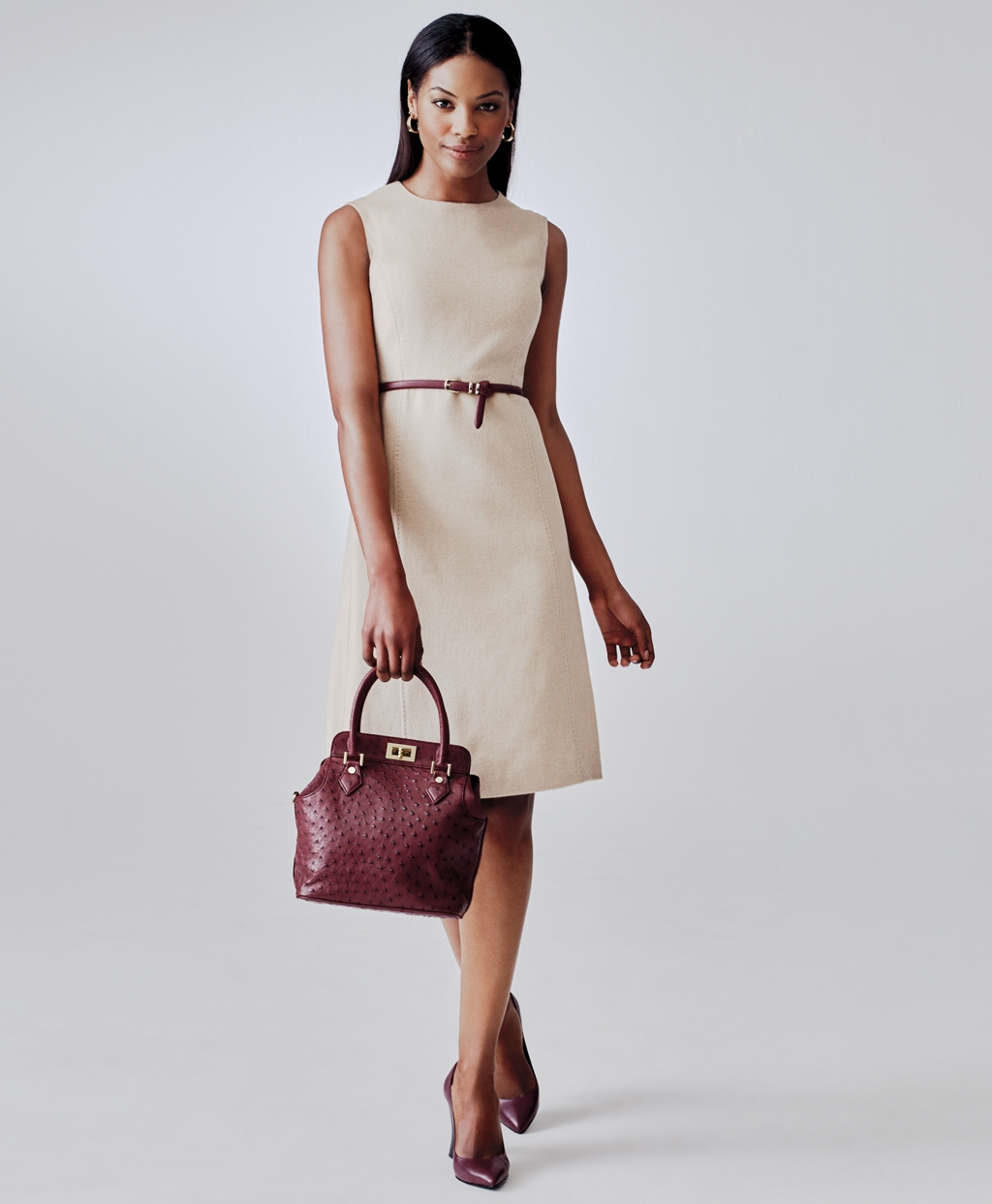 e541c79c21221e Lyst - Brooks Brothers Camel Hair Sleeveless Dress in Natural