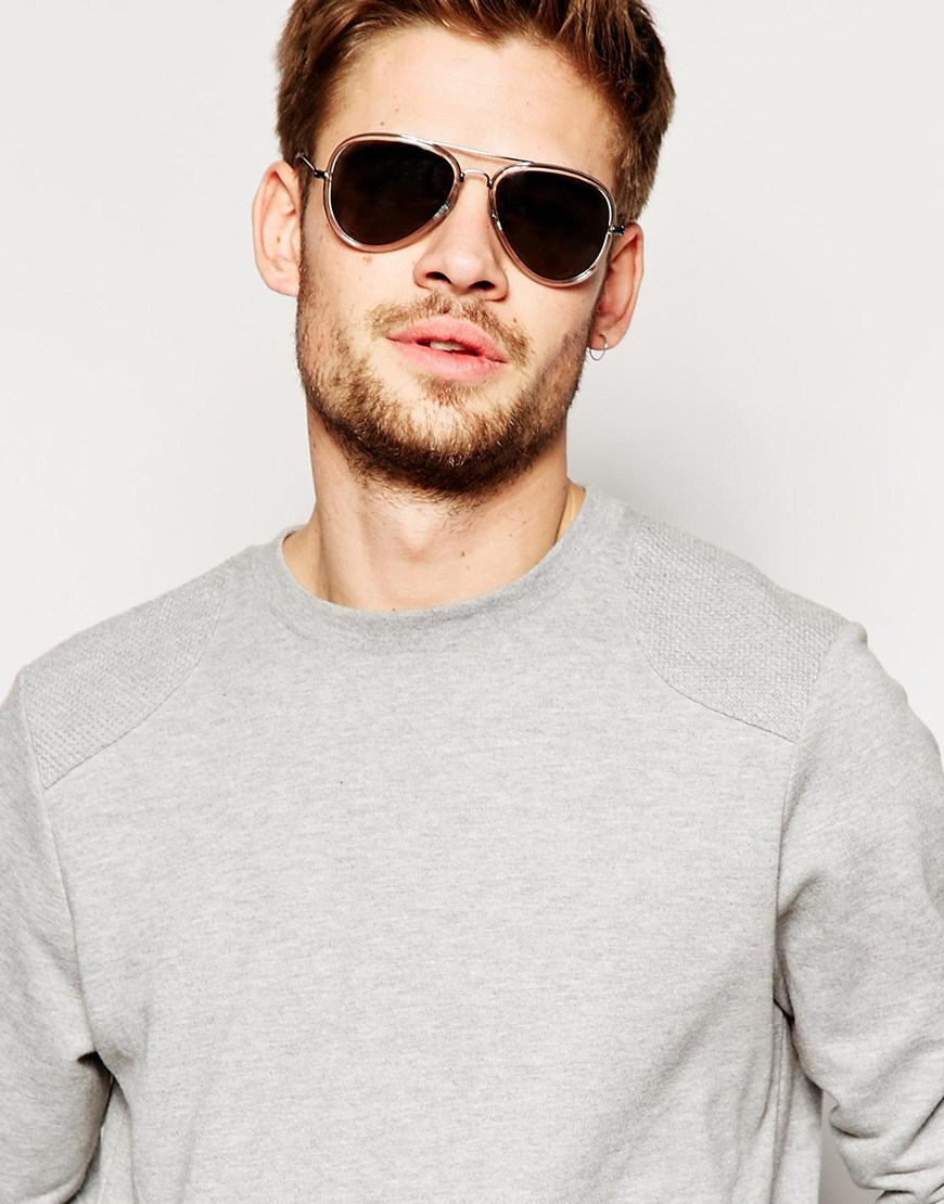 ASOS Aviator Sunglasses In Grey With Clear Frame in Gray for Men - Lyst d4064a2e705b