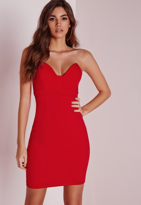Missguided Scuba Bandeau Bodycon Dress Red in Red | Lyst