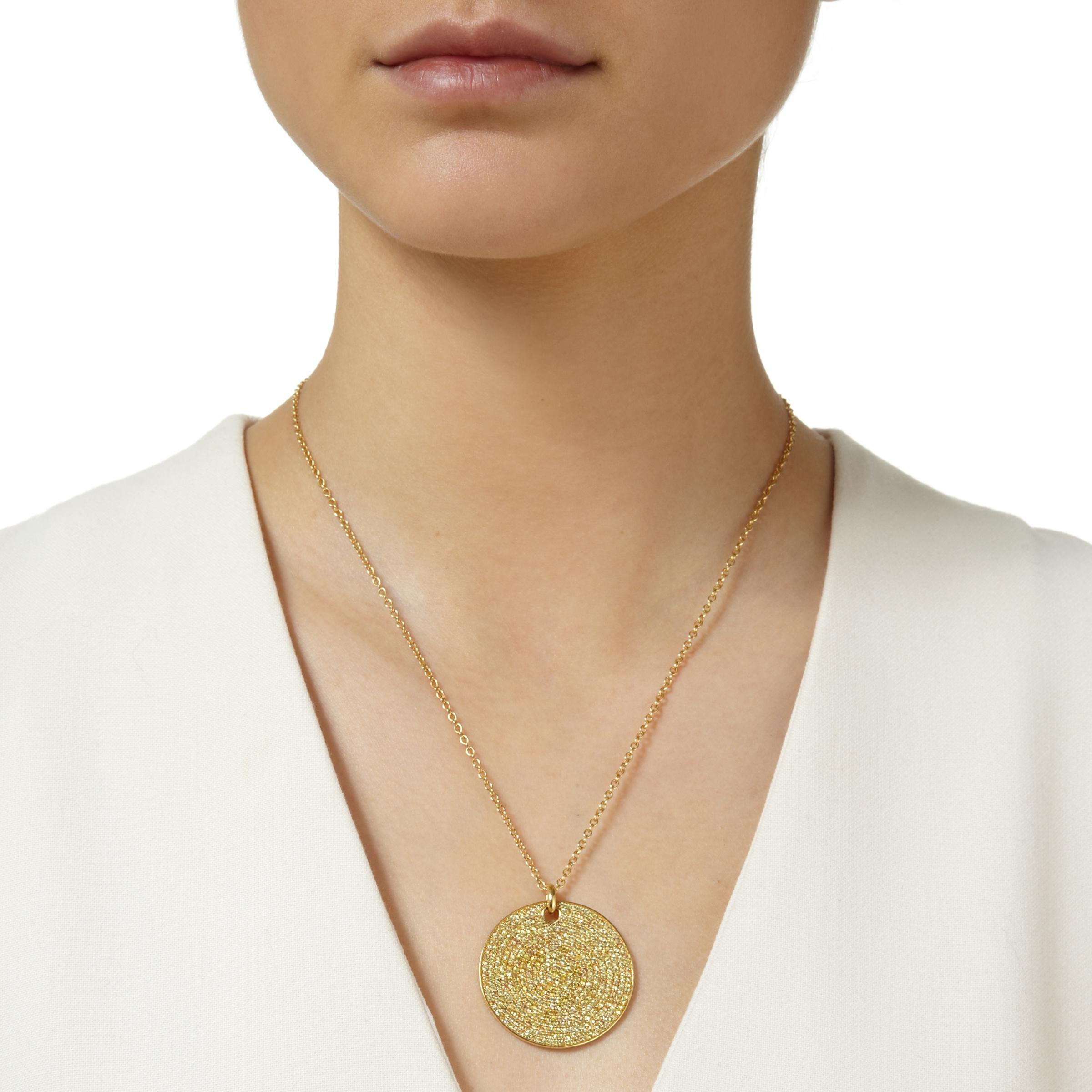 Monica Vinader Large Yellow Sapphire Ava Pendant in Gold (Metallic)