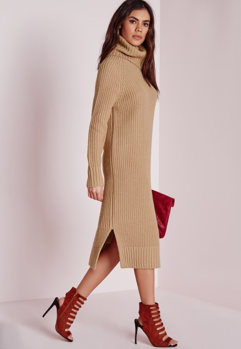 a4e76f438ffb Lyst - Missguided Roll Neck Split Knitted Dress Camel in Natural