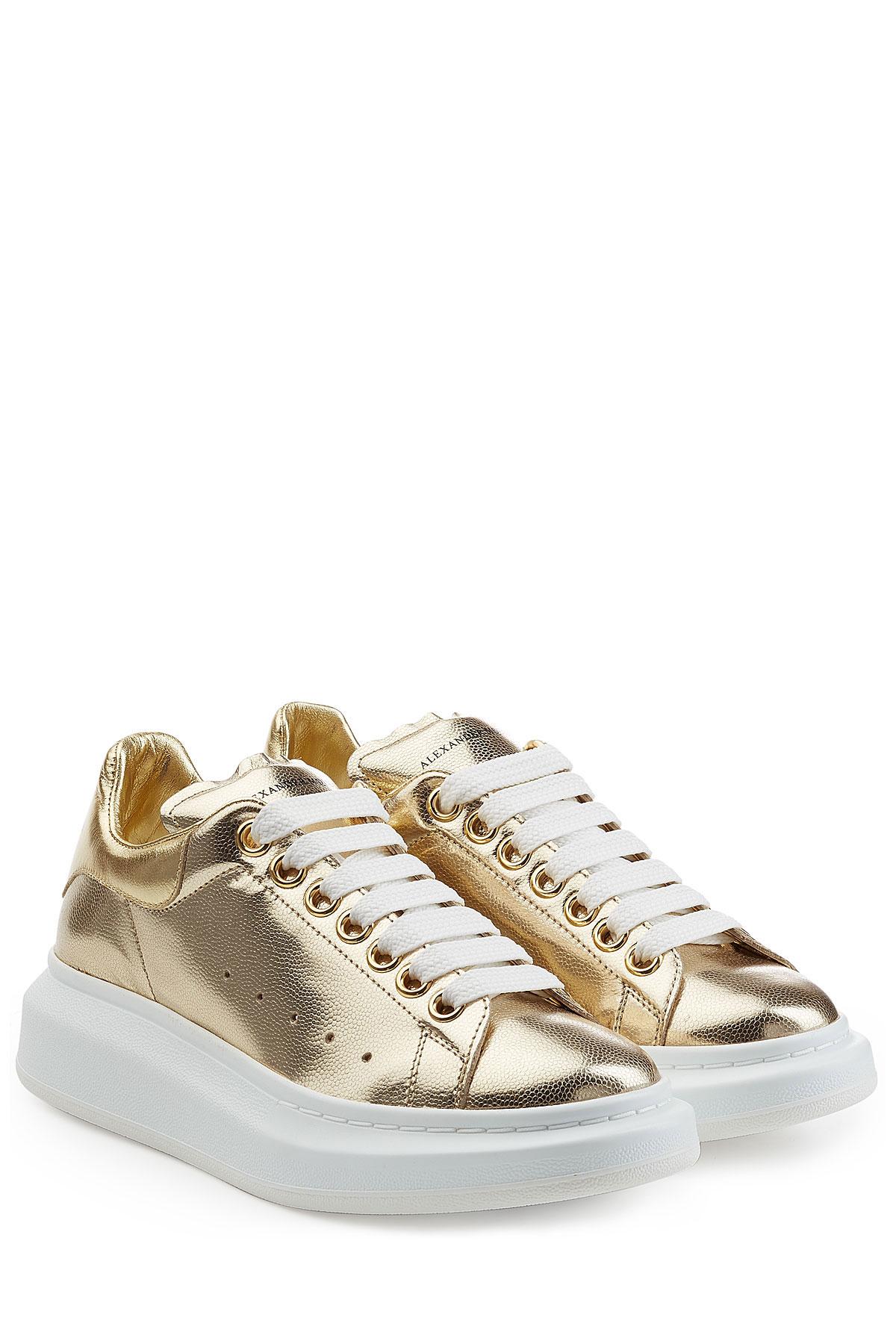 e7fc25d82 Alexander McQueen Metallic Leather Sneakers - Gold in Metallic - Lyst