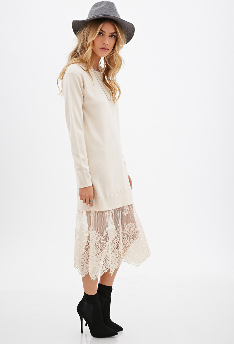 Forever 21 Eyelash Lace Sweater Dress in Pink | Lyst