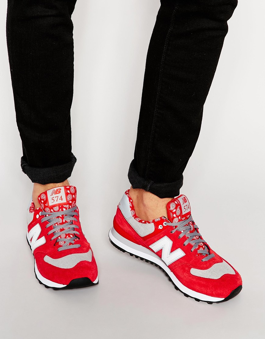 new balance 574 red suede clutch