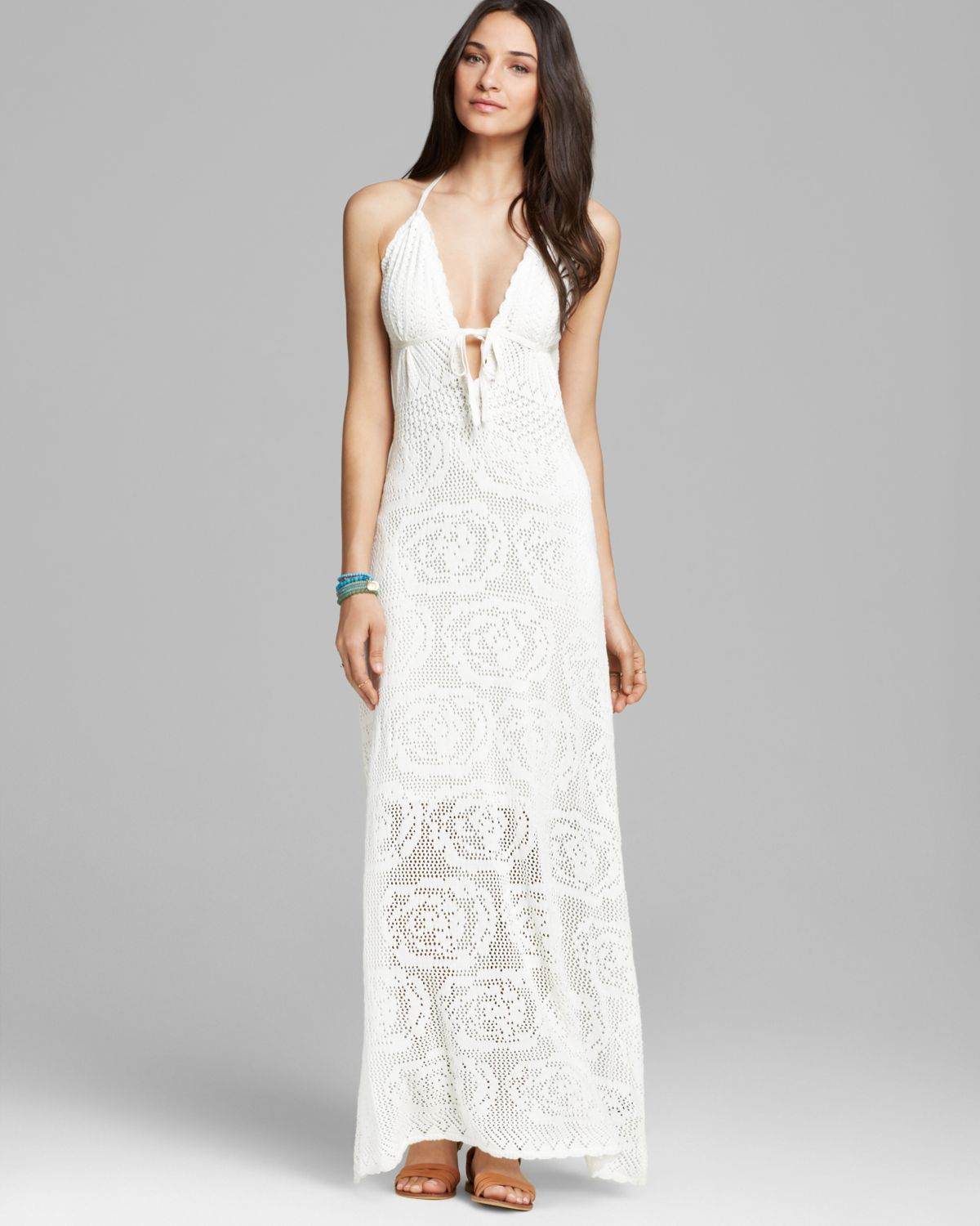 f0a0664ec8c8 Lyst - Guess Maxi Dress Lace Crochet in White