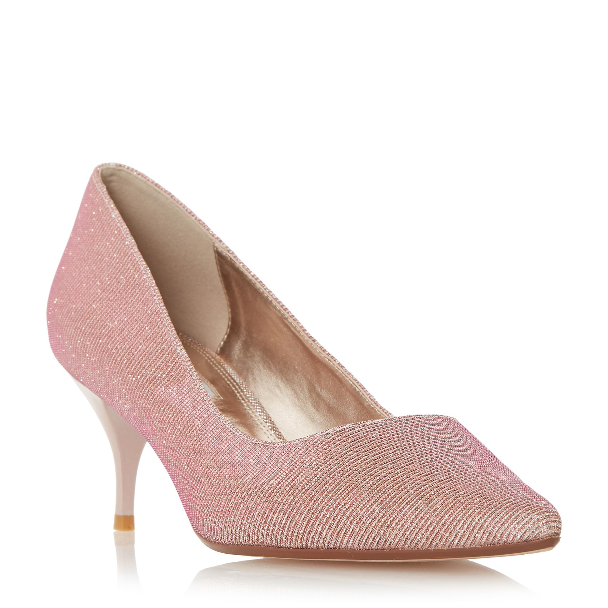 Pink Mid Heel Court Shoes