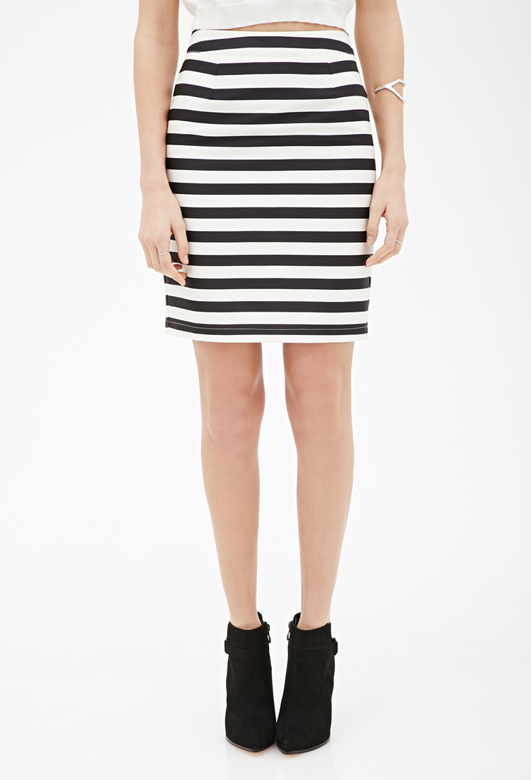 forever 21 contemporary striped sateen pencil skirt in
