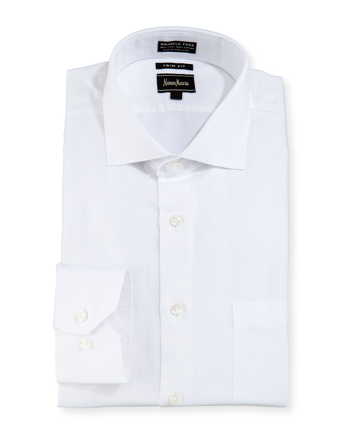 Neiman marcus trim fit non iron dobby dress shirt in white for White non iron dress shirts