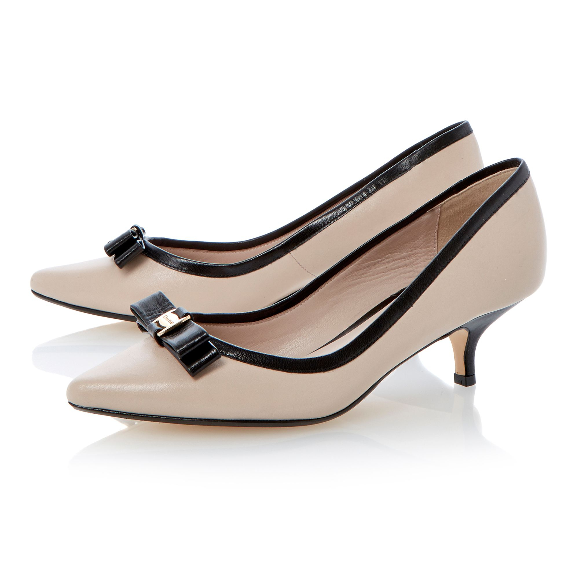 Lyst - Dune Alfa Leather Kitten Heel Pointed Toe Court Shoes in ...
