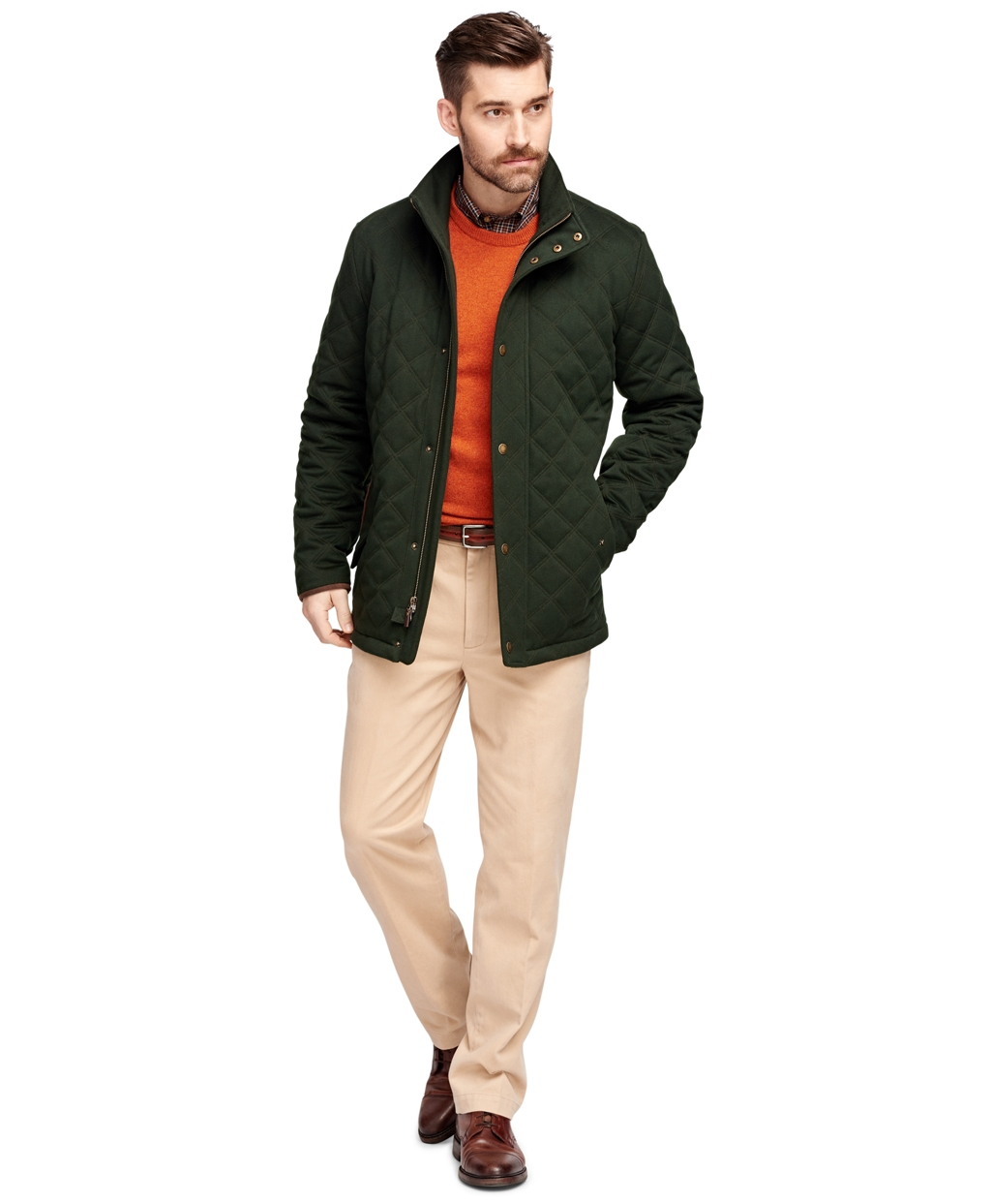 Brooks Brothers Quilted Wool Jacket In Green For Men