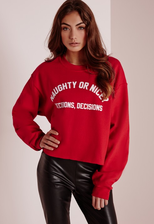 Missguided Naughty Or Nice Decisions Christmas Sweater Crop Red in ...
