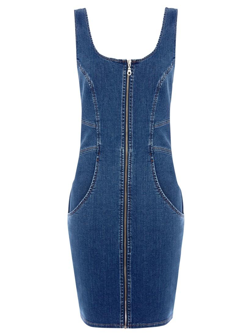 Blue lace up front denim bodycon dress