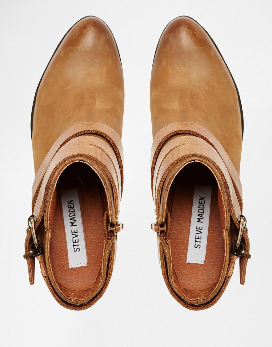 b2172290977 Steve Madden Brown Regent Cognac Strap Western Ankle Boots