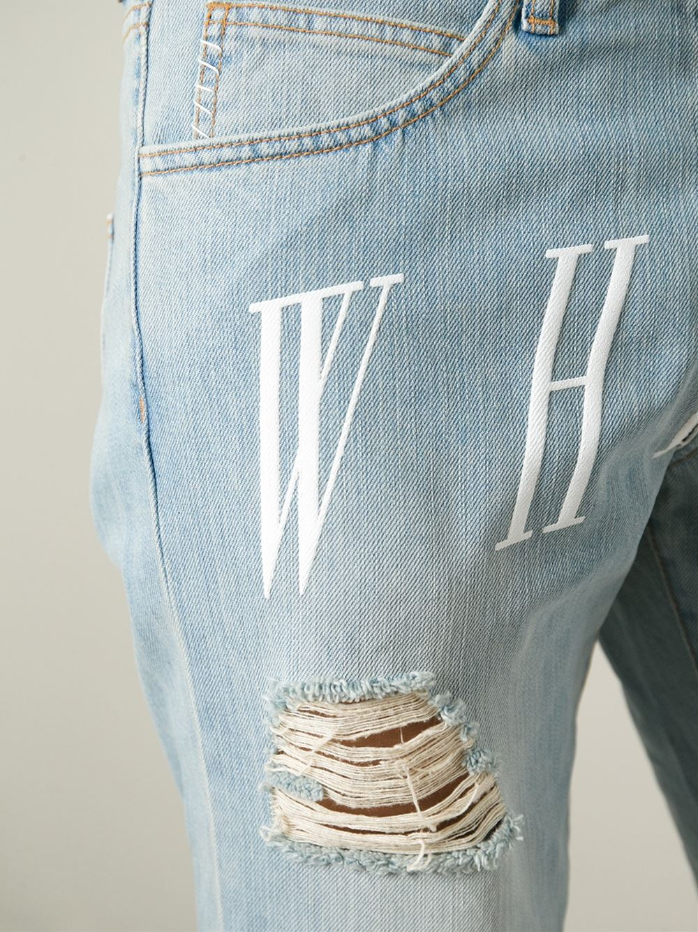 Off-White c/o Virgil Abloh Distressed Printed Jeans in Blue for Men