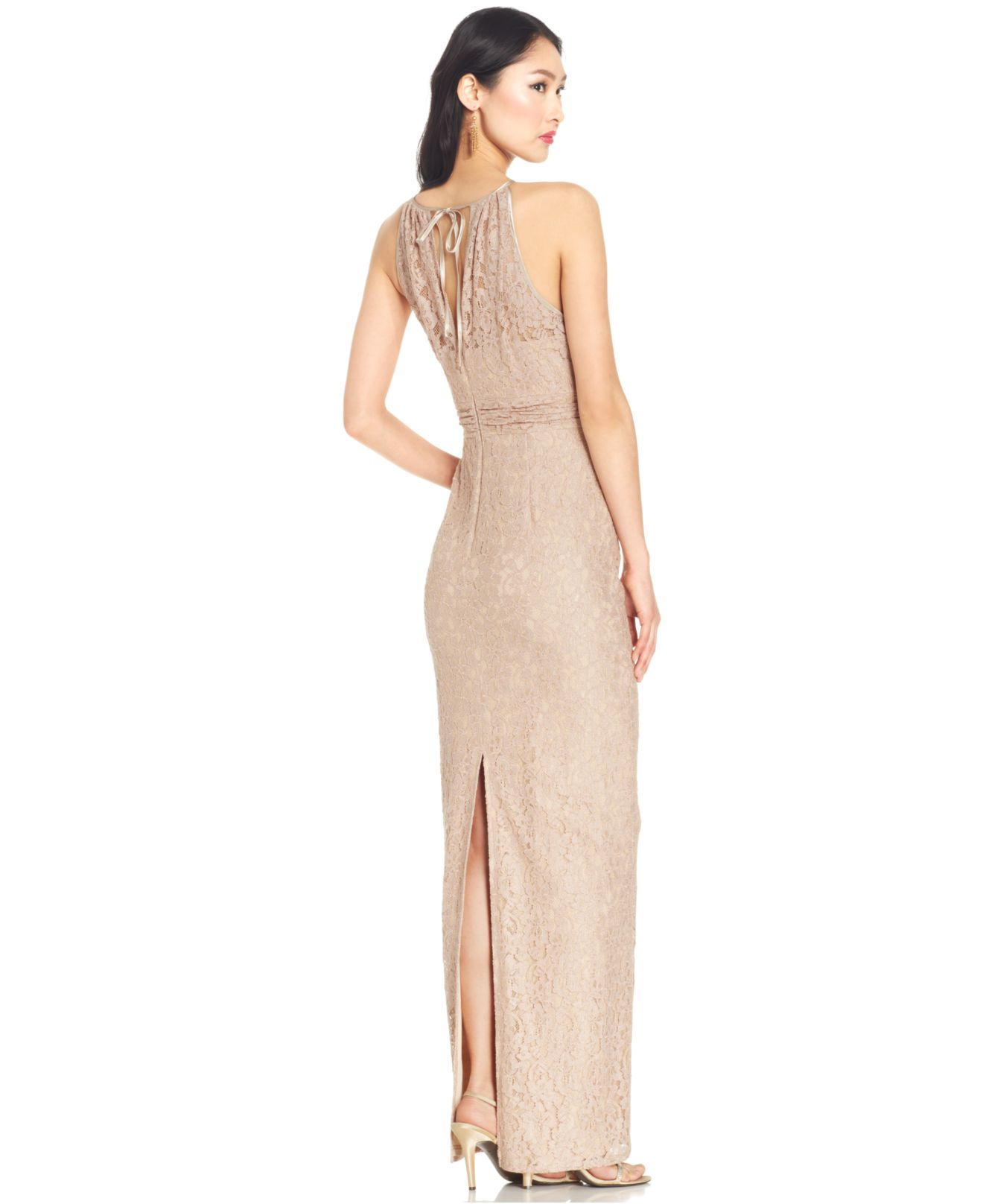 Lyst Adrianna Papell Illusion Lace Halter Gown In Pink