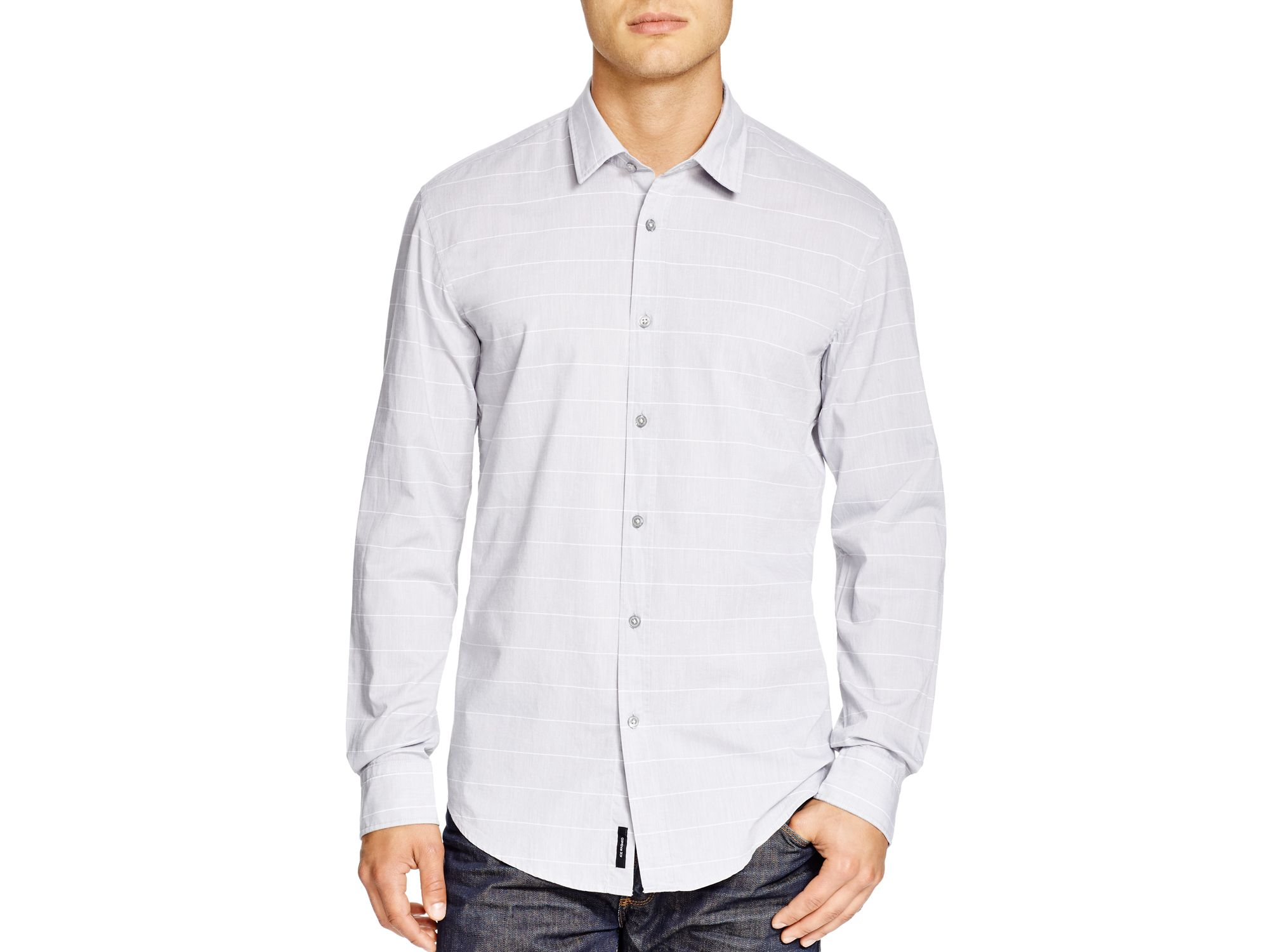 Boss gray boss ronni slim fit button down shirt for men for Athletic fit button down shirts