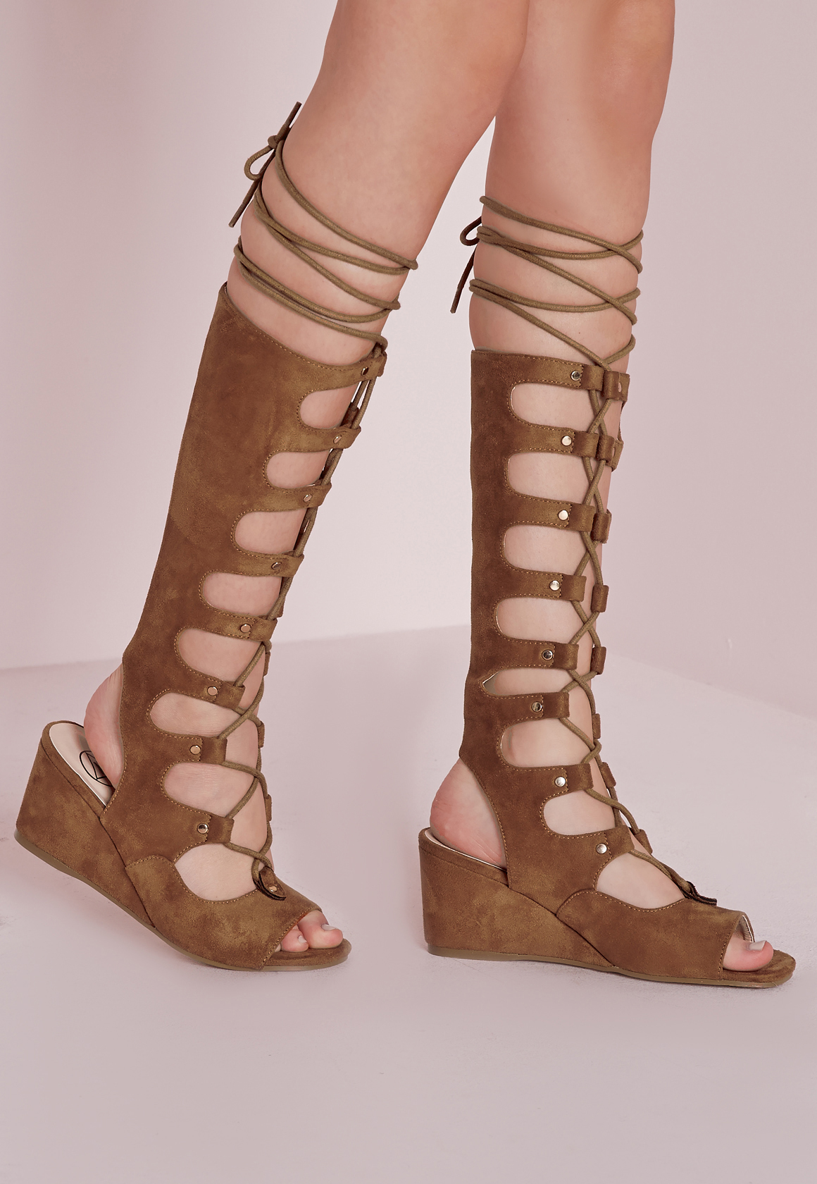 Lyst Missguided Knee High Wedge Gladiator Sandals Tan In