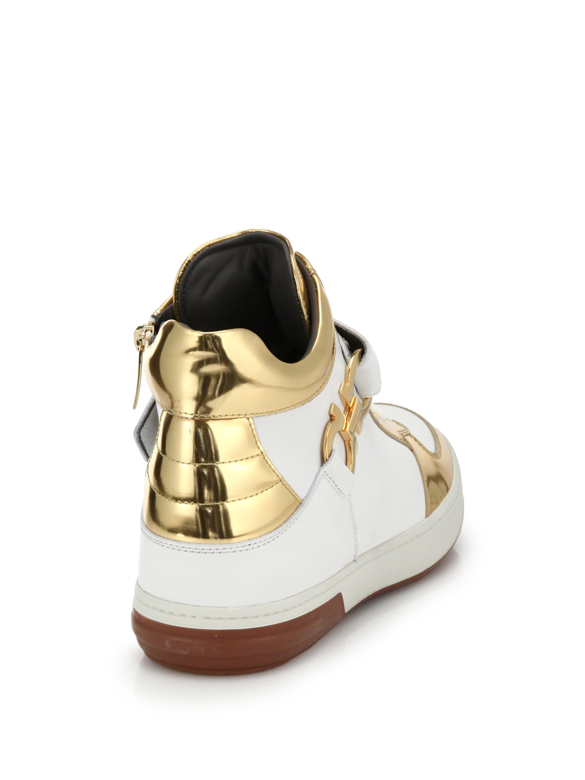 Ferragamo Leather High Top Sneakers In Gold White