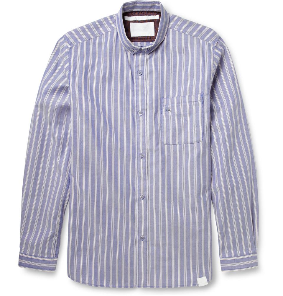 White mountaineering striped button down collar cotton for Red and white striped button down shirt