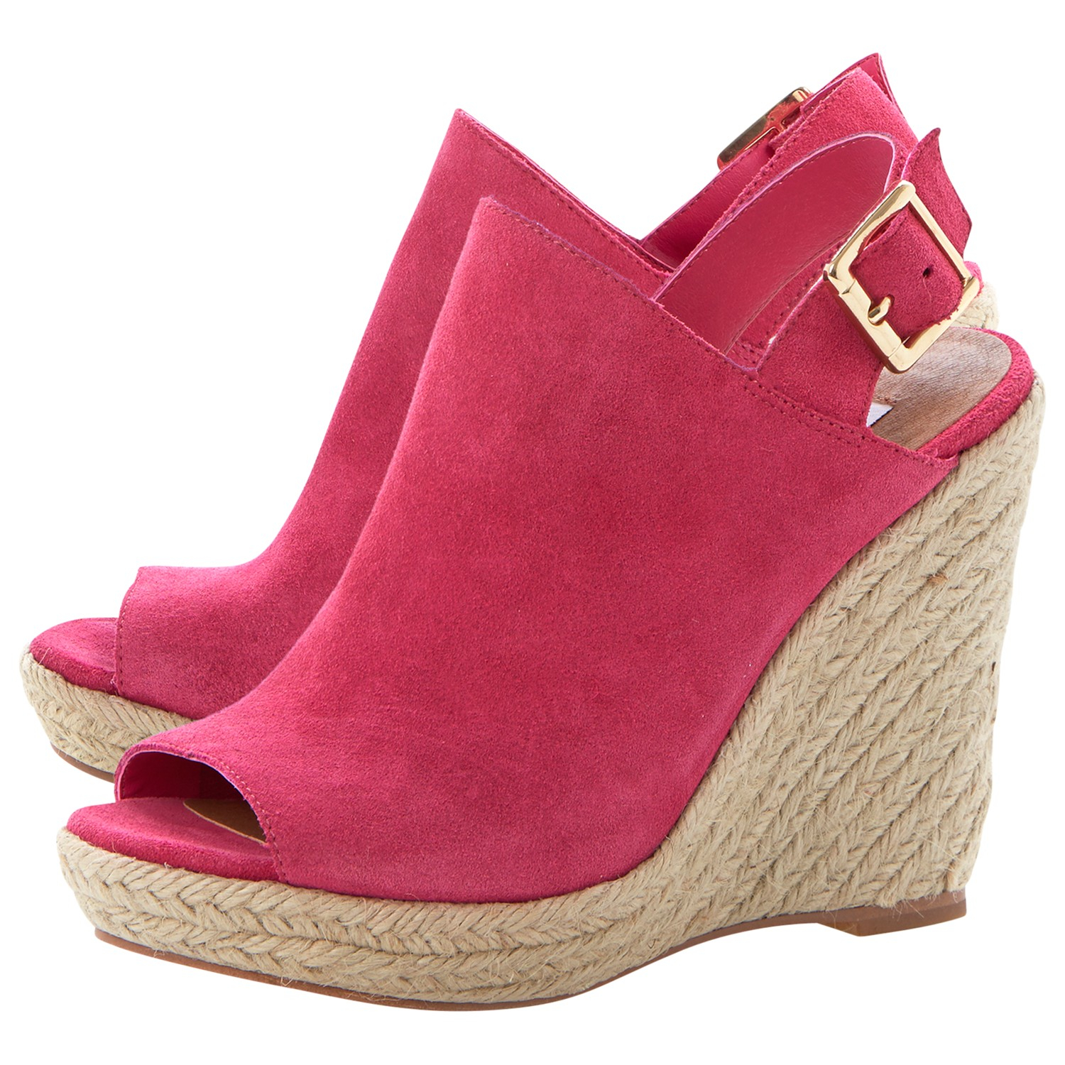 c15b9efdfa84 Steve Madden Corizon Suede High Wedged Sandals in Pink - Lyst