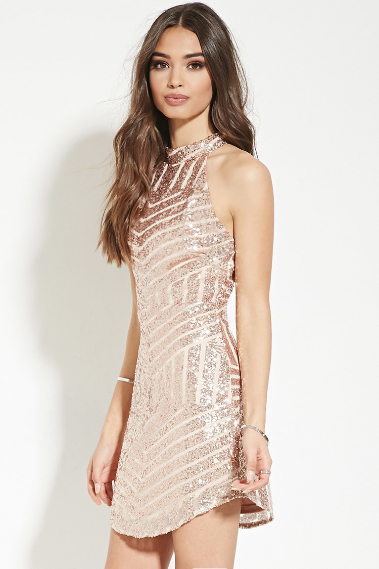 Forever 21 Sequin-stripe Mini Dress in Metallic - Lyst