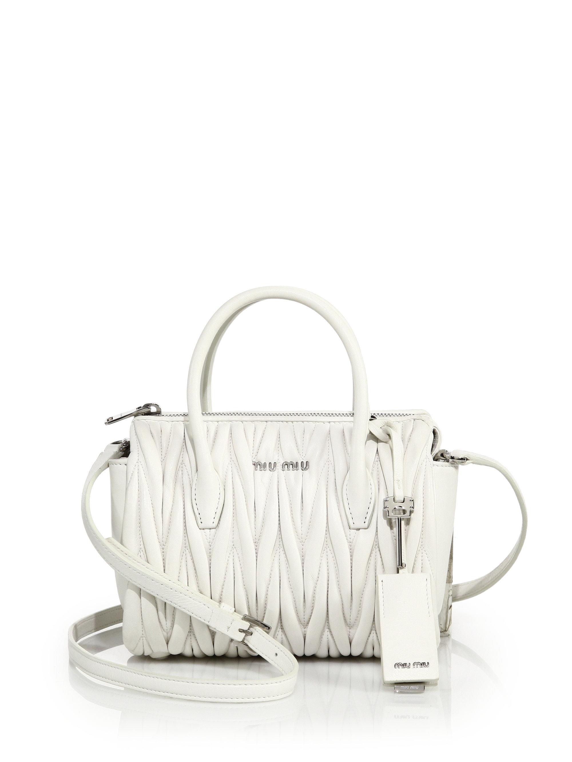 Lyst - Miu Miu Matelasse Mini Leather Zip Satchel in White ac26bcdde8a60