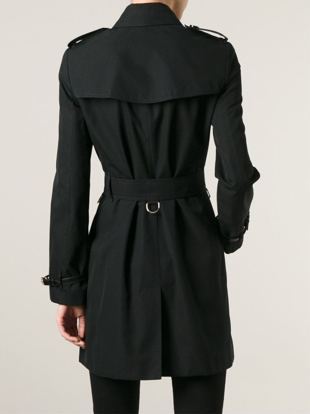 burberry belted trench coat in black lyst. Black Bedroom Furniture Sets. Home Design Ideas