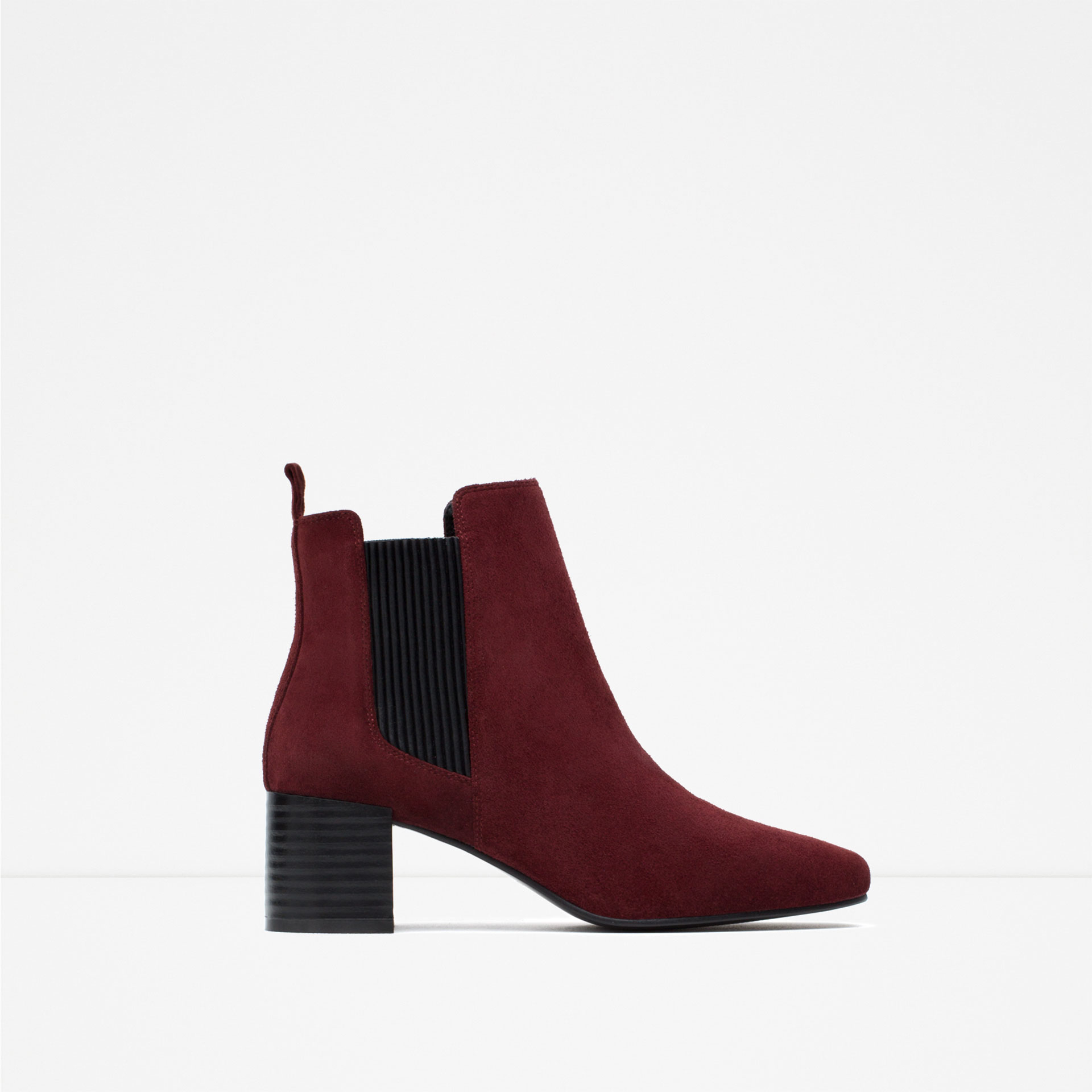 zara leather block heel ankle boots in purple lyst