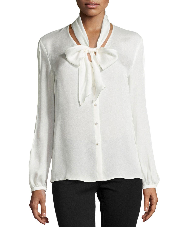 White Satin Long Sleeve Blouse 117