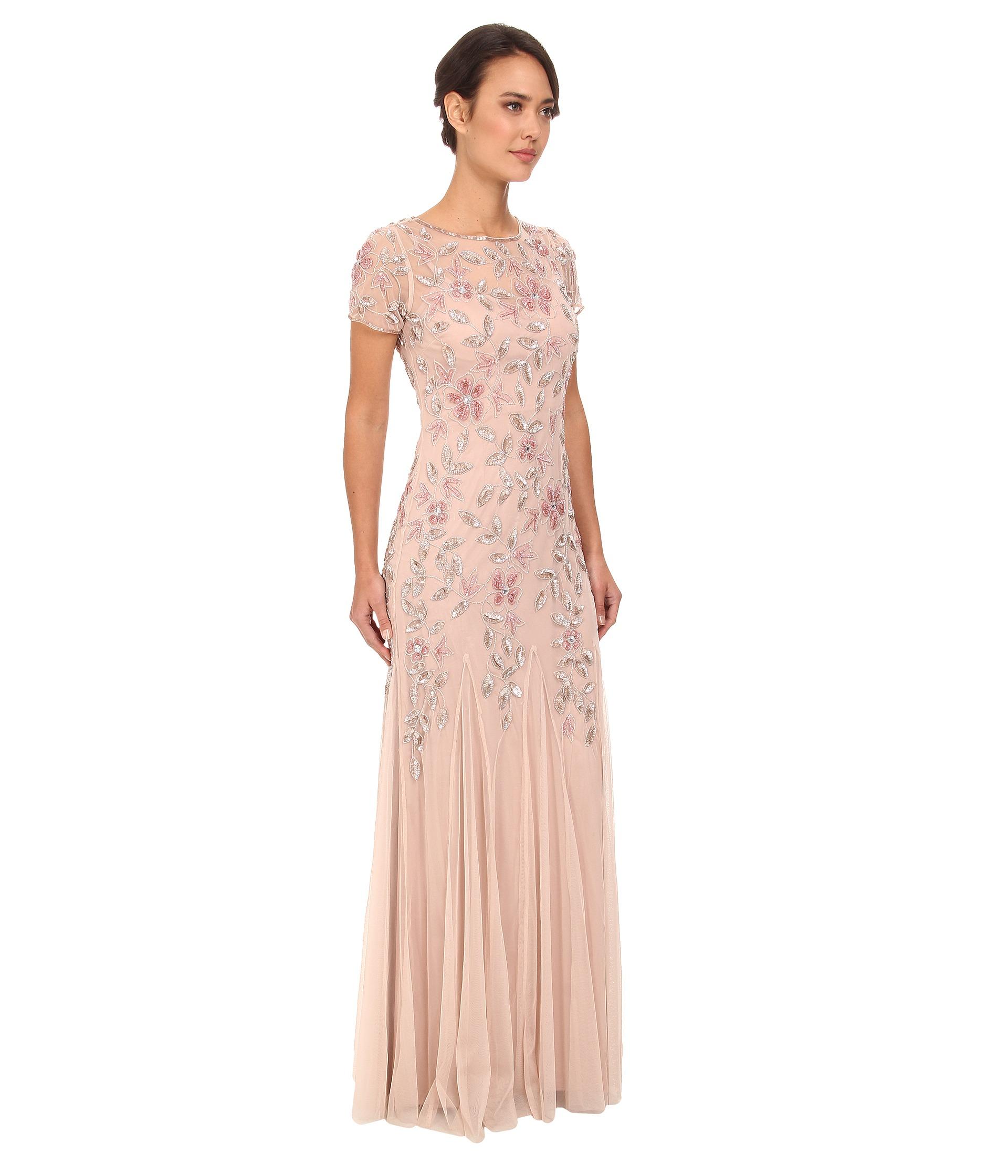 65538da394ed Women's Pink Floral Beaded Godet Gown