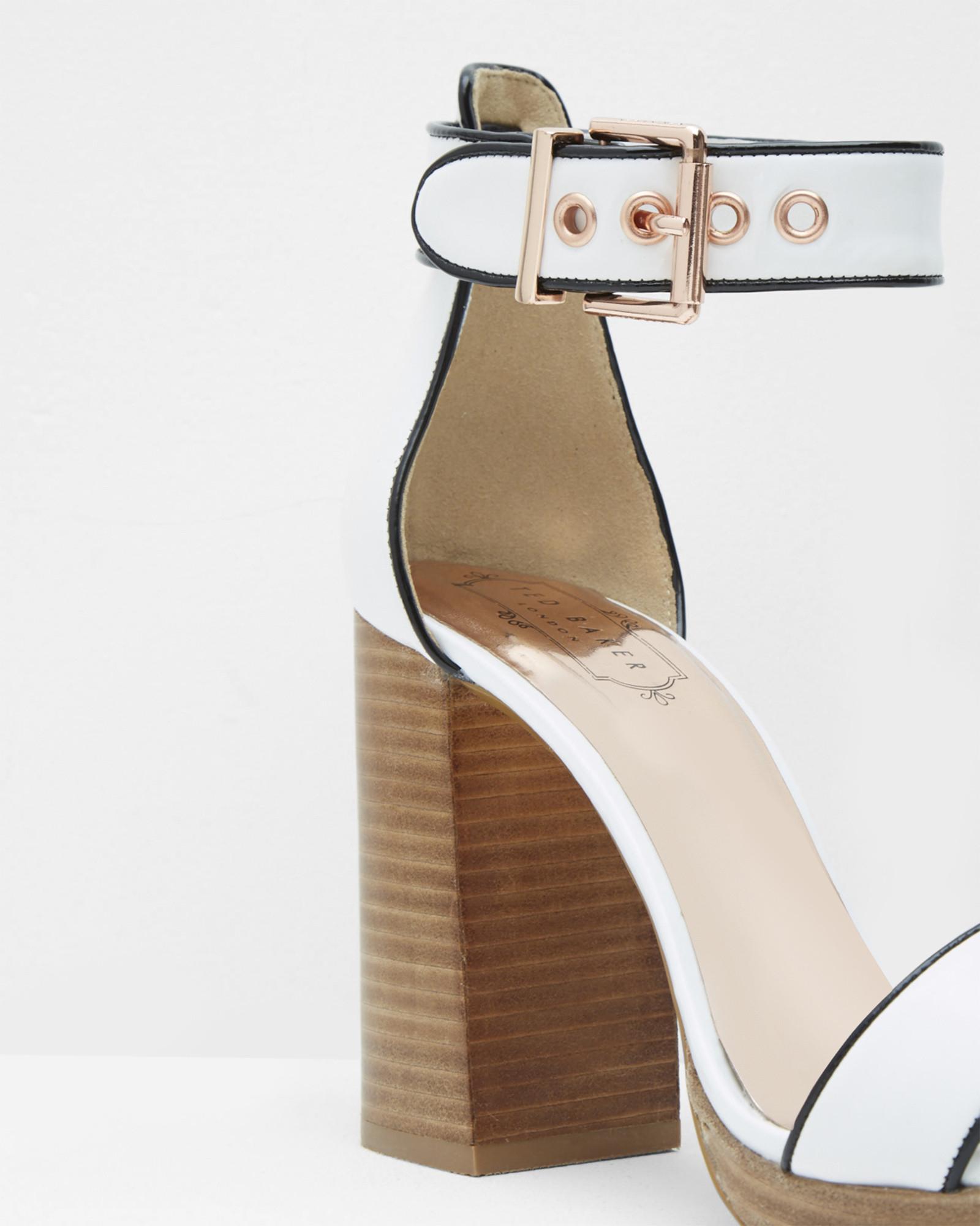 2edae1cb00c6 Ted Baker Open Toe Block Heeled Platform Sandals in White - Lyst