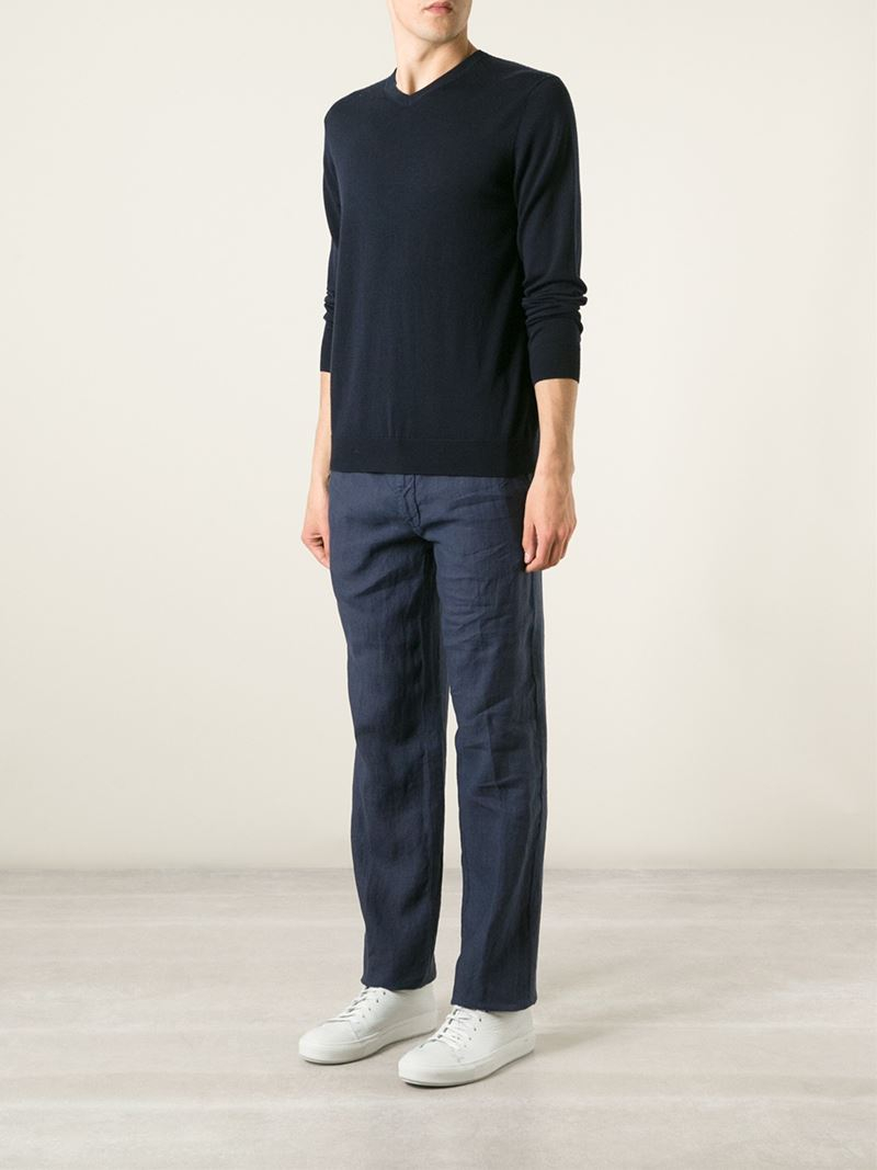 Corneliani Loose Fit Trousers in Blue for Men