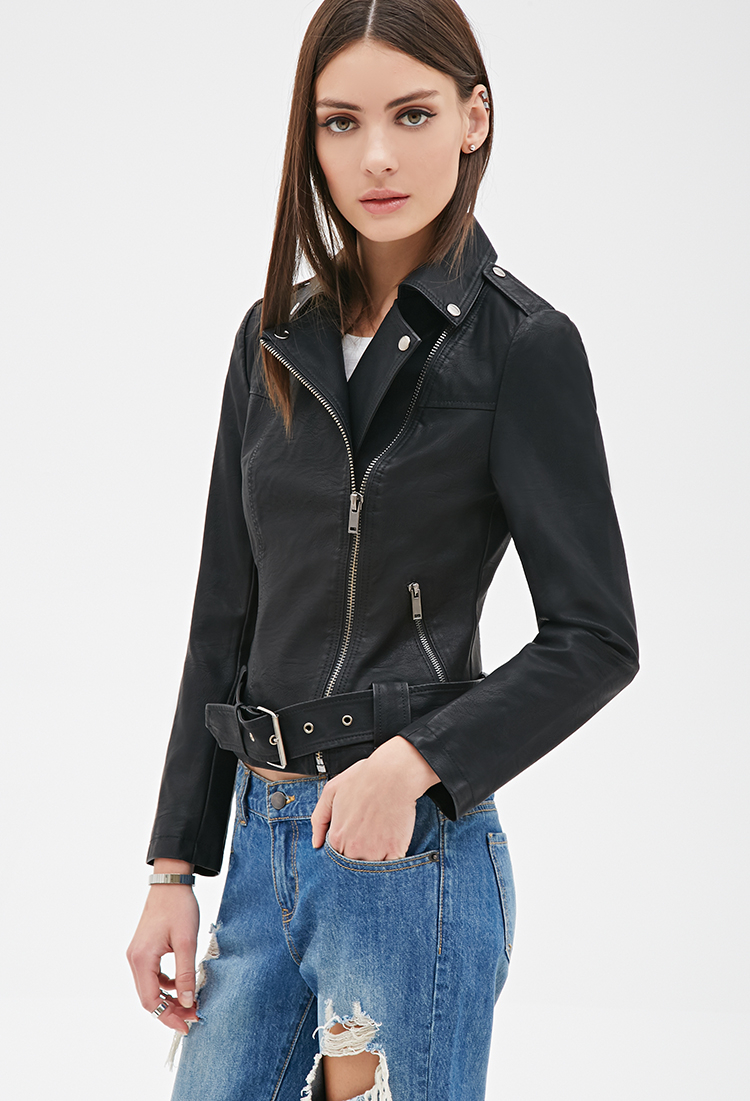 bce68dbe57aa4 Lyst - Forever 21 Faux Leather Moto Jacket in Black