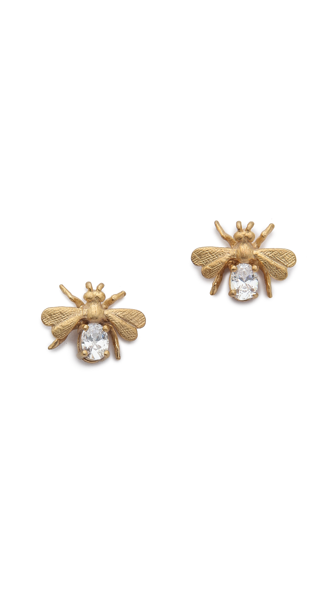 bee earrings gold clear in gold gold clear lyst