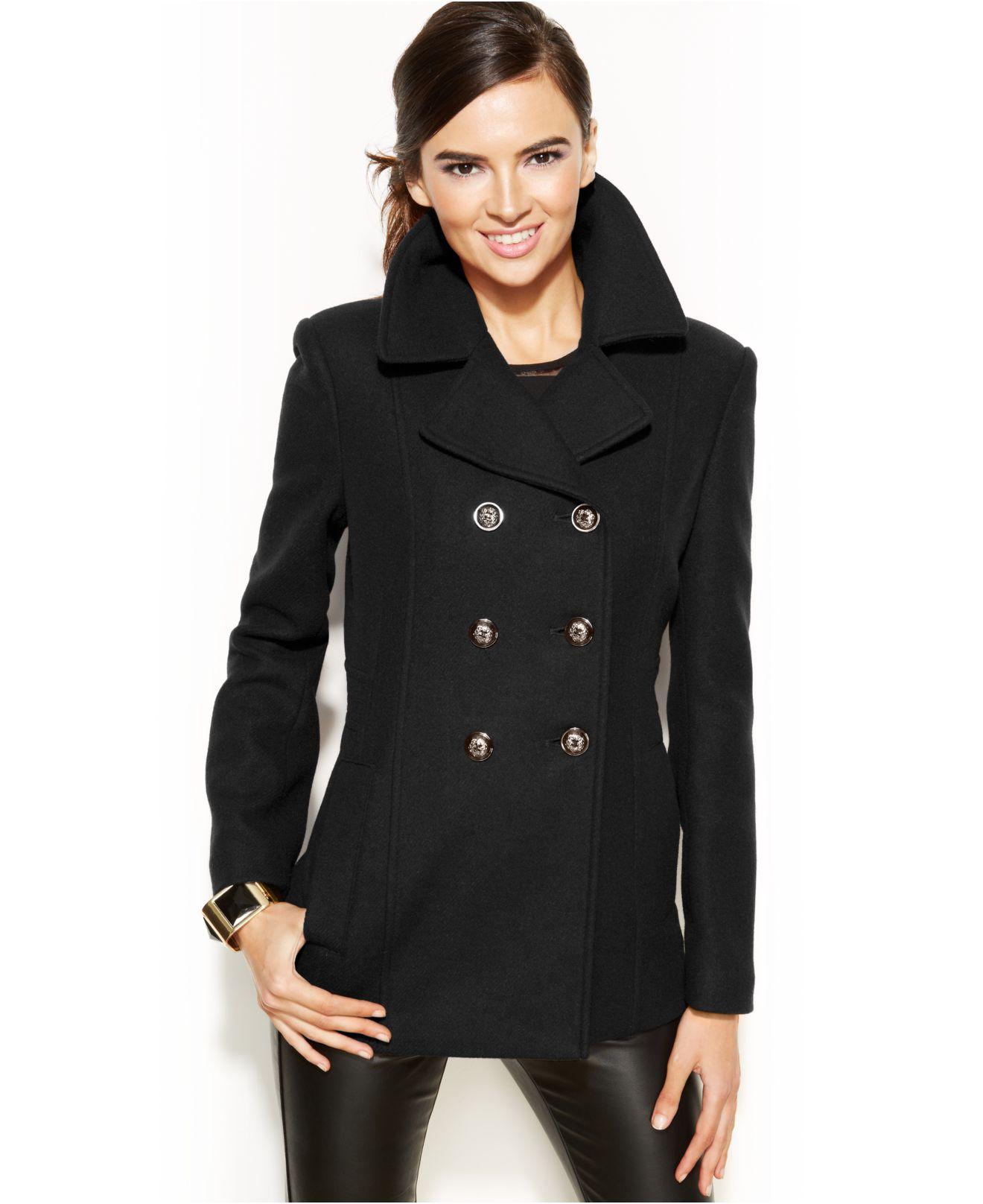 64b782e25e INC International Concepts Double-Breasted Pea Coat in Black - Lyst