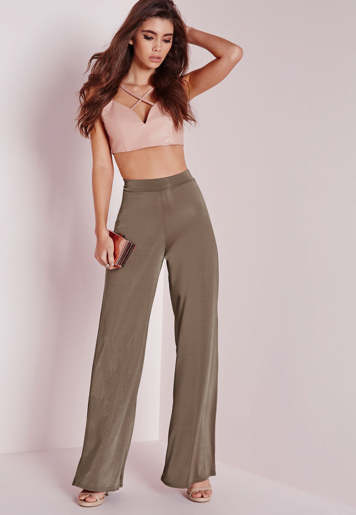 sold worldwide save up to 80% authorized site Missguided Synthetic Slinky Wide Leg Trousers Bronze in Brown - Lyst