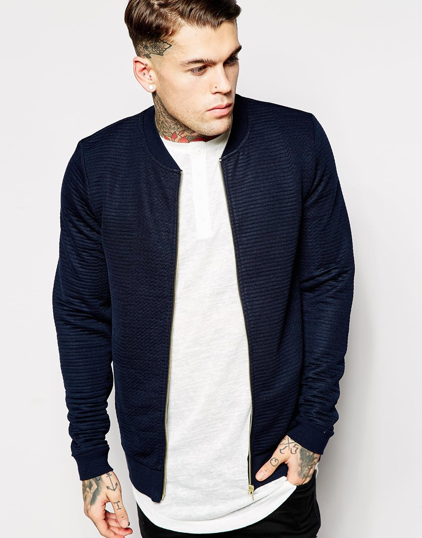 69634f872 ASOS Blue Quilted Bomber Jacket In Jersey With Gold Zips for men