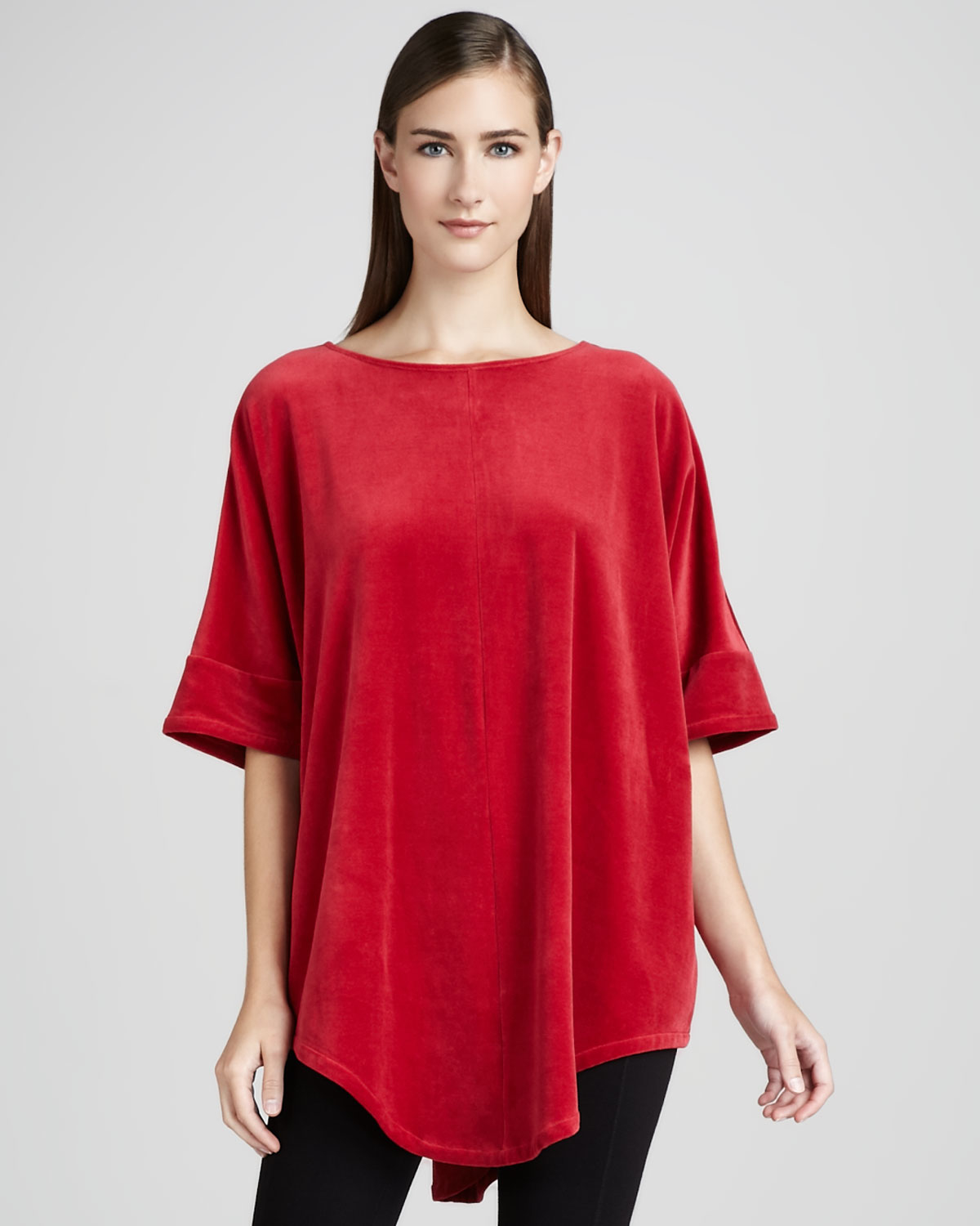 Joan Vass Velour Tunic In Red
