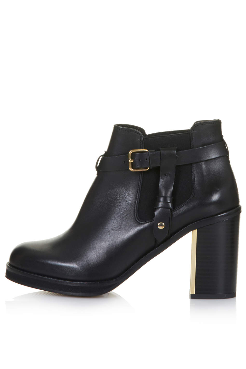 topshop mine leather buckled ankle boots in black lyst
