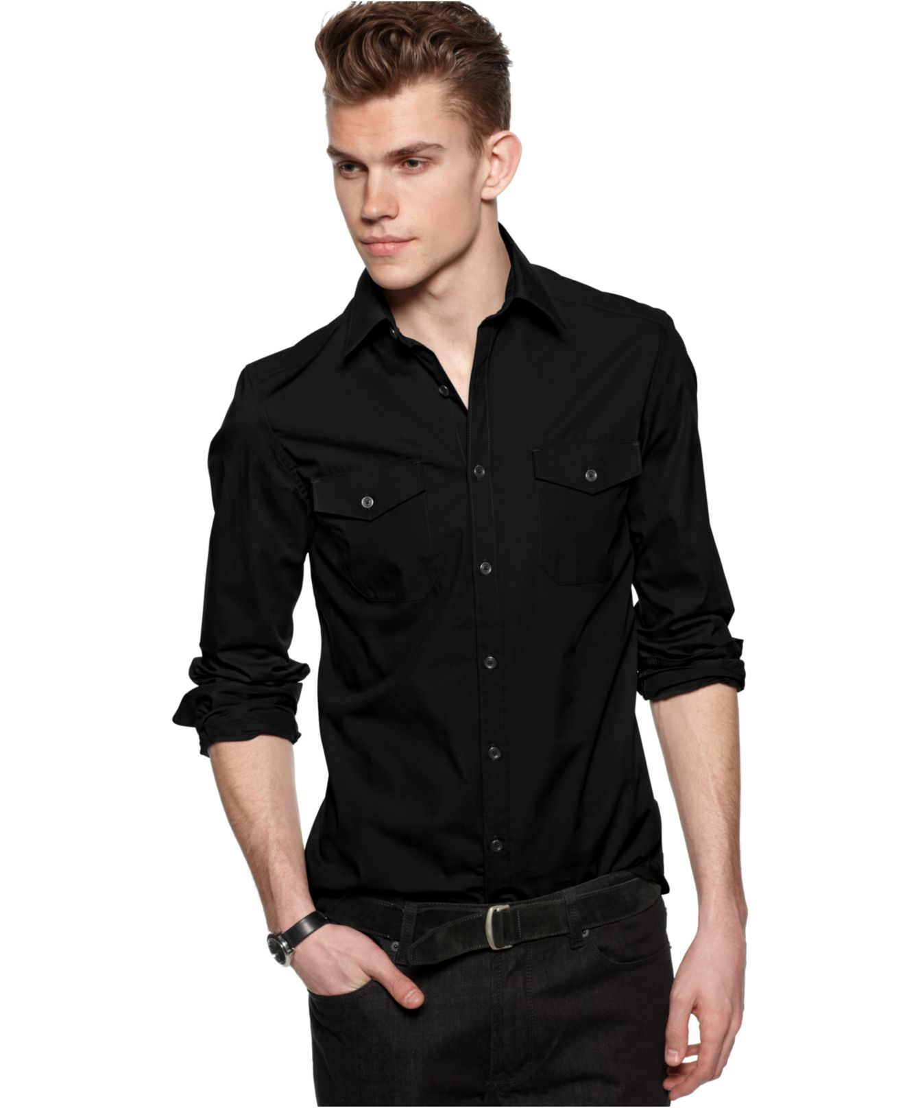 Kenneth cole reaction long sleeve double pocket shirt in for Mens double pocket short sleeve shirts