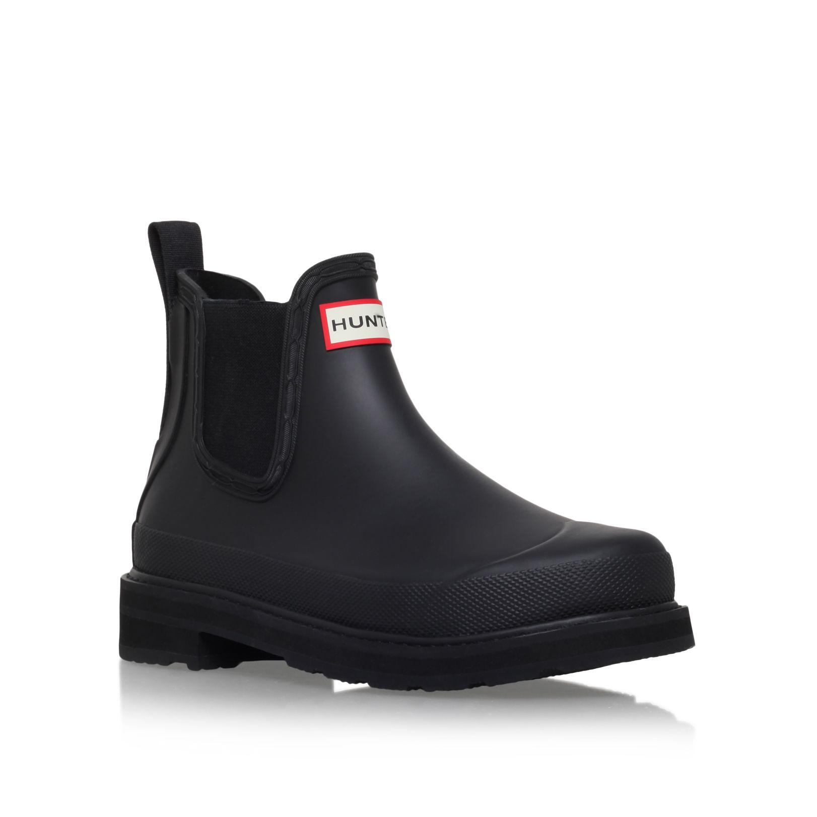 hunter original chelsea lw low heel ankle boots in black lyst. Black Bedroom Furniture Sets. Home Design Ideas