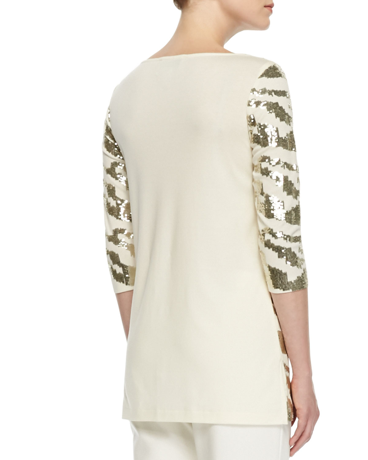 Joan Vass Sequined Animal Tunic In White