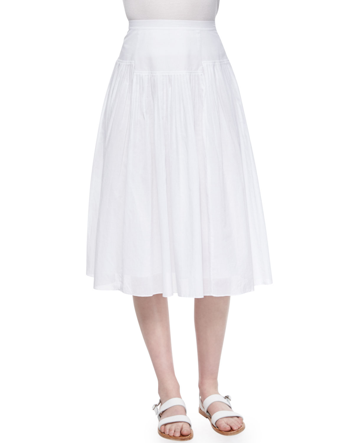 pleated cotton voile skirt in blue lyst