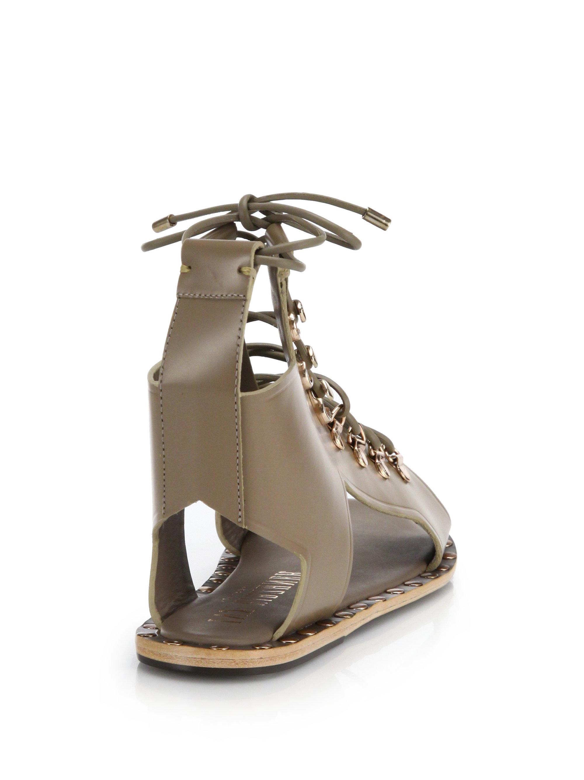 7ff37fc235ba Lyst - Ivy Kirzhner Skylar Leather Lace-up Gladiator Sandals in Gray