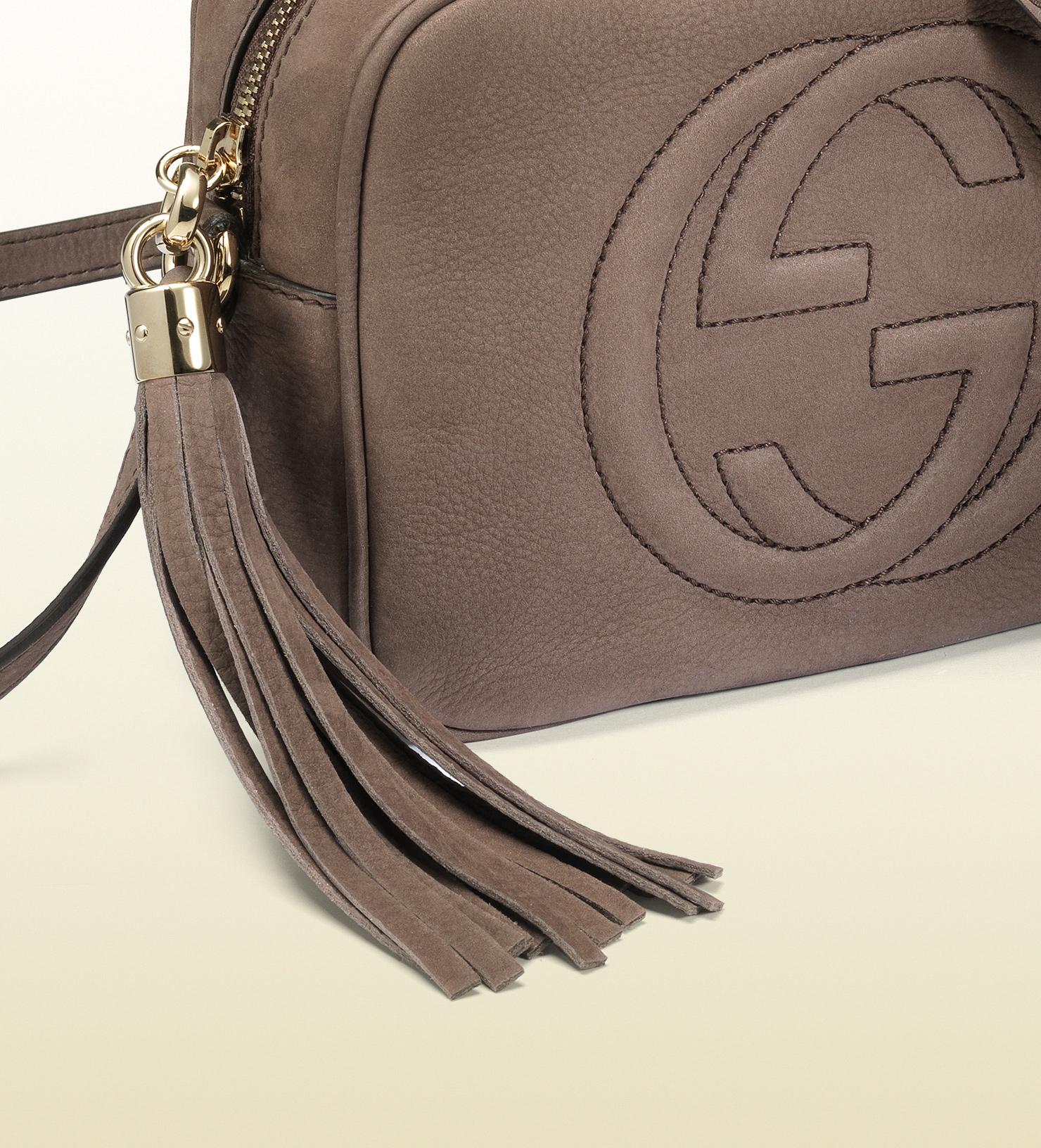 b222e49b7a2 Lyst - Gucci Soho Nubuck Leather Disco Bag in Gray