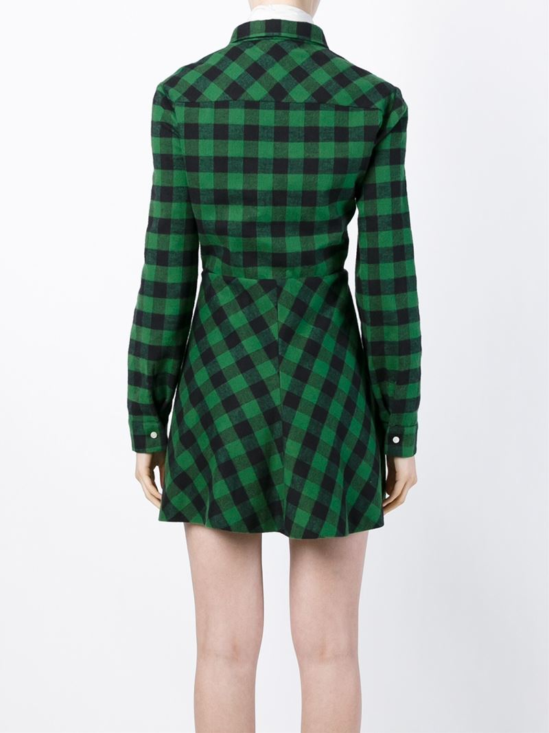 Lyst red valentino checked shirt dress in black for Red and green checked shirt