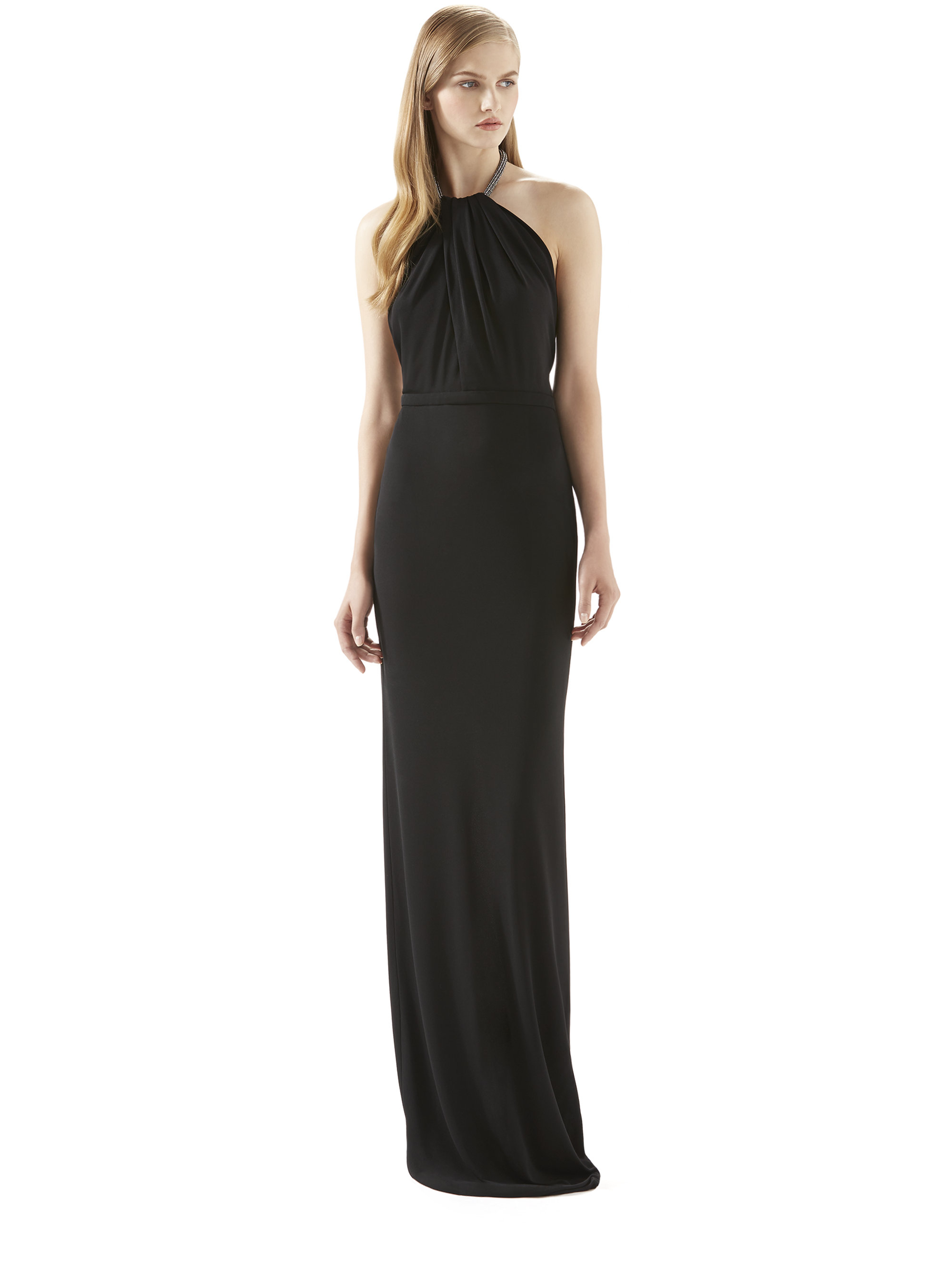 96a46b2f8 Gucci Crystal Halter Black Viscose Jersey Gown in Black - Lyst