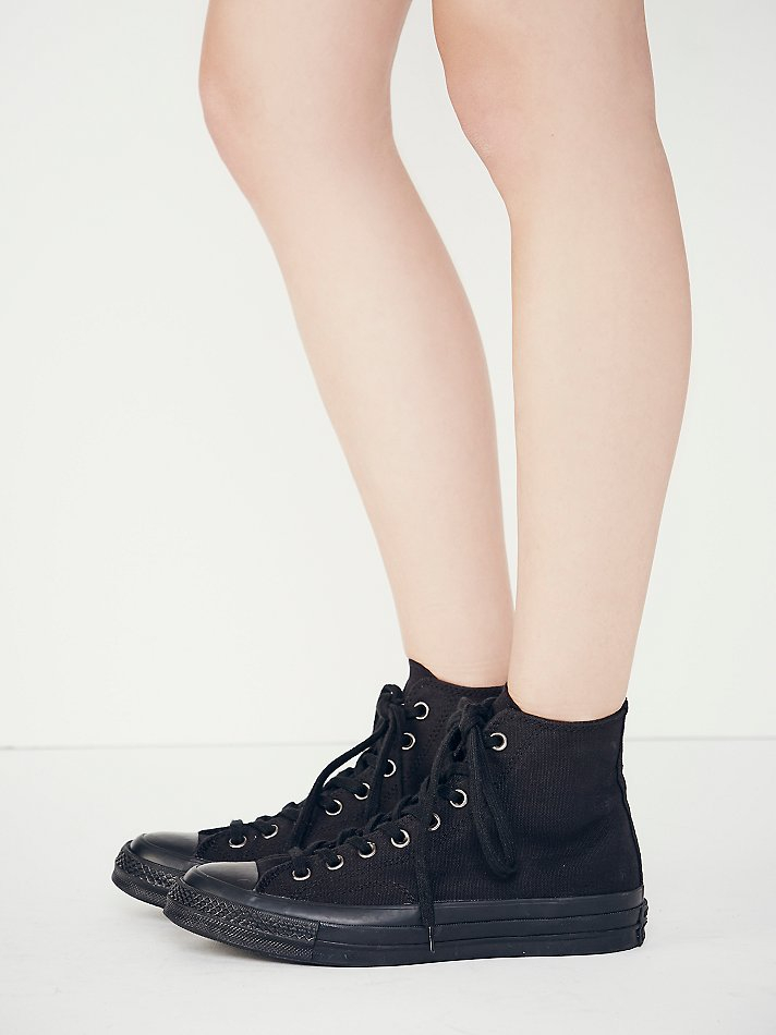 black monochrome converse high tops