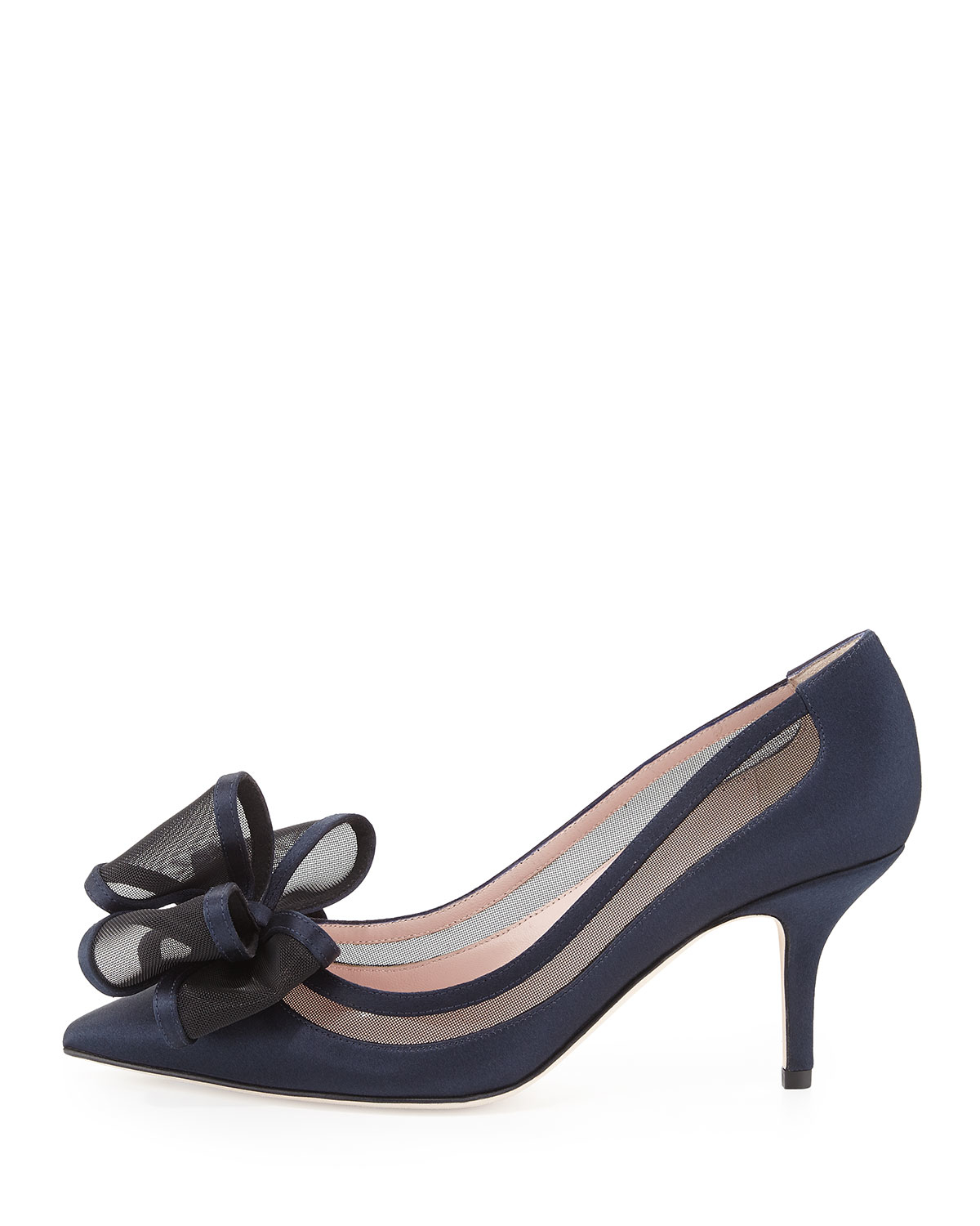 f398791a1e1 Lyst - Kate Spade Jackie Satin   Mesh Bow Pump in Blue