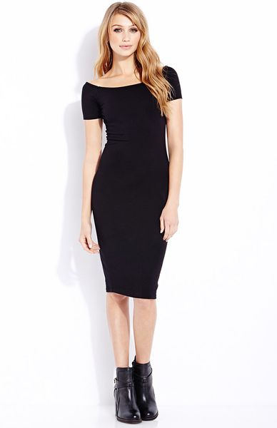 ... : http://www.lyst.com/clothing/forever-21-musthave-midi-dress-black
